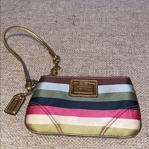 Authentic Coach Legacy Horizontal Stripe Wristlet